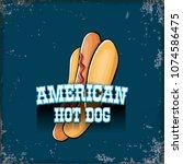 vector cartoon american hotdog... | Shutterstock .eps vector #1074586475
