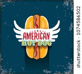 vector cartoon american hotdog... | Shutterstock .eps vector #1074586502