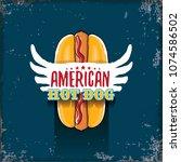 vector cartoon american hotdog... | Shutterstock .eps vector #1074586502