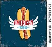 vector cartoon american hotdog... | Shutterstock .eps vector #1074586505