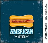 vector cartoon american hotdog... | Shutterstock .eps vector #1074586652