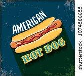 vector cartoon american hotdog... | Shutterstock .eps vector #1074586655