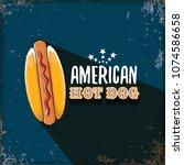 vector cartoon american hotdog... | Shutterstock .eps vector #1074586658