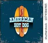 vector cartoon american hotdog... | Shutterstock .eps vector #1074586985