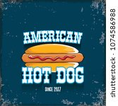 vector cartoon american hotdog... | Shutterstock .eps vector #1074586988