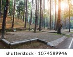 view of campground for camper... | Shutterstock . vector #1074589946