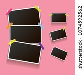 set of vintage photo frame with ... | Shutterstock .eps vector #1074592562