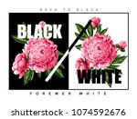 print for t shirt with pink... | Shutterstock .eps vector #1074592676