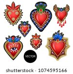 traditional mexican hearts with ... | Shutterstock .eps vector #1074595166