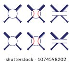 vector set with baseball logos  ... | Shutterstock .eps vector #1074598202
