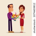 happy smiling man character... | Shutterstock .eps vector #1074603812