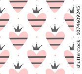 cute romantic seamless pattern. ... | Shutterstock .eps vector #1074609245