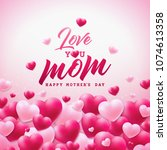 happy mothers day greeting card ...   Shutterstock .eps vector #1074613358
