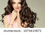 brunette  girl with long  ... | Shutterstock . vector #1074615872