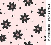 repeated flowers and round dots....   Shutterstock .eps vector #1074617525
