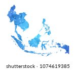 southeast asia map   abstract... | Shutterstock .eps vector #1074619385