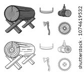 log on supports  two hand saw ...   Shutterstock .eps vector #1074619532