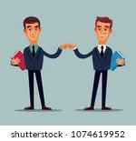 two happy smiling colleague...   Shutterstock .eps vector #1074619952