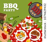 bbq party background with grill.... | Shutterstock .eps vector #1074629432