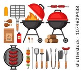 bbq tools set. barbecue grill ... | Shutterstock .eps vector #1074629438