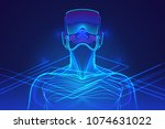 person wearing virtual reality... | Shutterstock .eps vector #1074631022