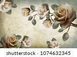 chinese painting of white roses.... | Shutterstock . vector #1074632345