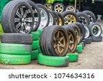 editorial use only  car tires... | Shutterstock . vector #1074634316