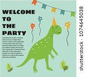 birthday invitation with...   Shutterstock .eps vector #1074645038