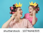 funny family  mother and her... | Shutterstock . vector #1074646505