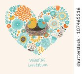 vector wedding invitation with... | Shutterstock .eps vector #107465216