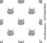 seamless pattern of cartoon cat ... | Shutterstock .eps vector #1074664985