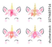 adorable unicorn heads isolated ... | Shutterstock .eps vector #1074685916