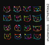 cat faces  sketch for your...   Shutterstock .eps vector #1074690662