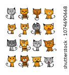 cats collection  sketch for... | Shutterstock .eps vector #1074690668