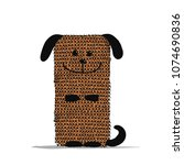 funny dog knitting  sketch for... | Shutterstock .eps vector #1074690836