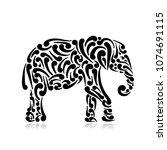 elephant ornate  sketch for... | Shutterstock .eps vector #1074691115