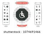 wheelchair handicap icon | Shutterstock .eps vector #1074691466