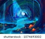 a fantastic cavern  realistic...