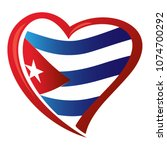 cuba flag in shape of heart | Shutterstock .eps vector #1074700292