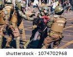 santiago  chile   april 19 ... | Shutterstock . vector #1074702968
