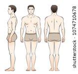 a man in underwear is seen from ... | Shutterstock .eps vector #1074710678