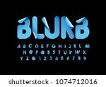 vector of stylized blurb font... | Shutterstock .eps vector #1074712016