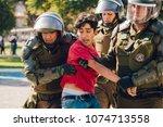 santiago  chile   april 19 ... | Shutterstock . vector #1074713558