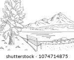 park lake graphic black white... | Shutterstock .eps vector #1074714875