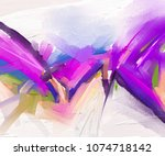 abstract colorful oil painting... | Shutterstock . vector #1074718142