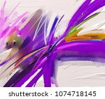 abstract colorful oil painting... | Shutterstock . vector #1074718145
