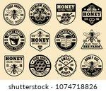 honey set of monochrome badges  ... | Shutterstock .eps vector #1074718826