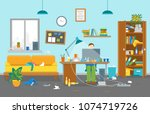 cartoon man at workplace dirty... | Shutterstock .eps vector #1074719726