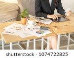 woman hand working on smart... | Shutterstock . vector #1074722825