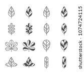 leaf icons set. vector... | Shutterstock .eps vector #1074724115